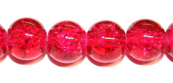 106pcs x 8mm dark pink glass crackled beads -- 3005028